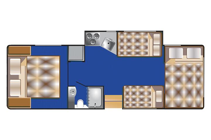 Floorplan bei Nacht des C 28 - 30 ft