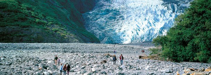 Besucher am Franz Josef-Gletscher