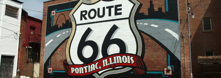 Route 66 Wandbild in Pontiac, Illinois