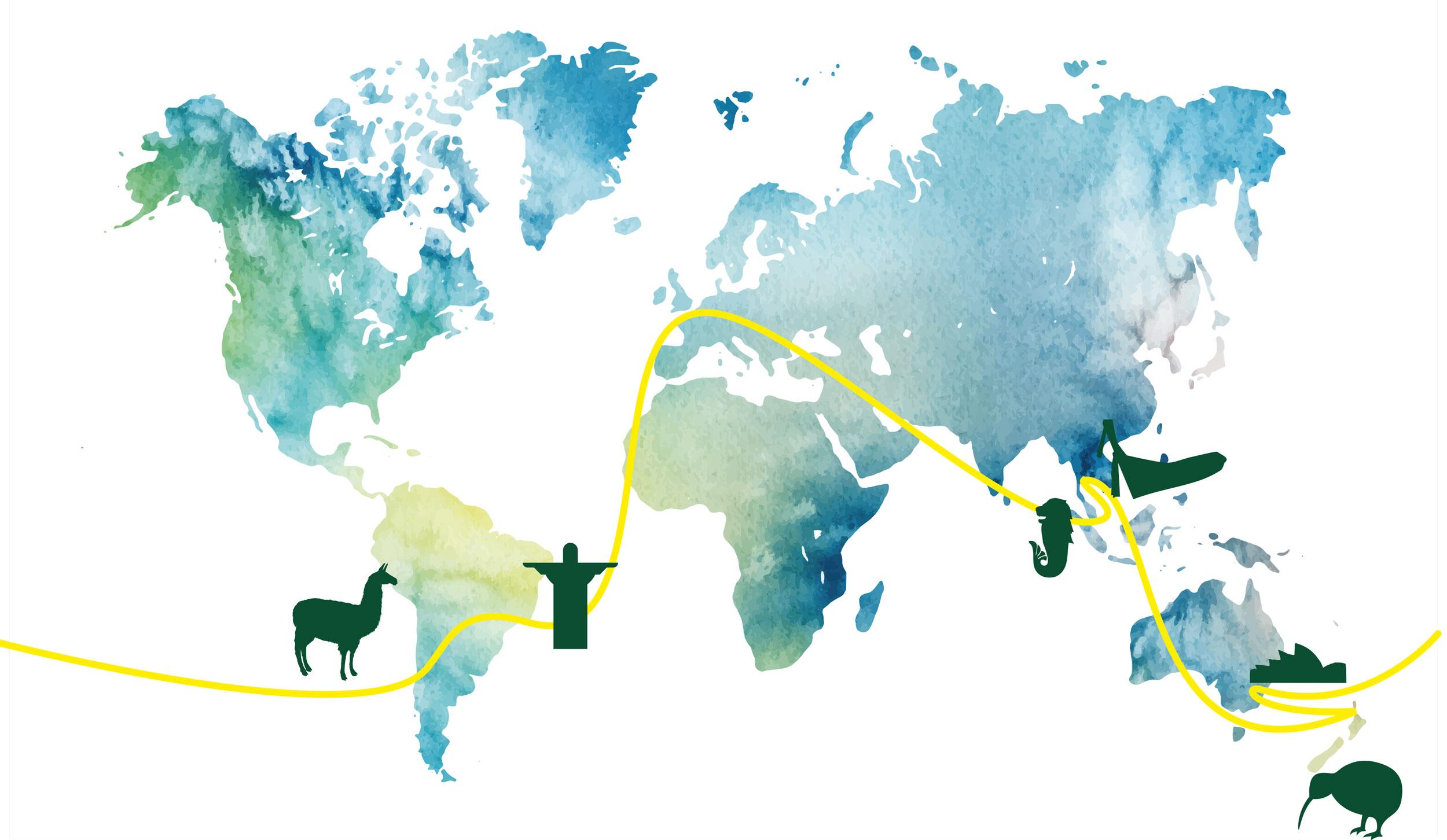 Weltreisen Karte - Zuckerhut bis Down Under