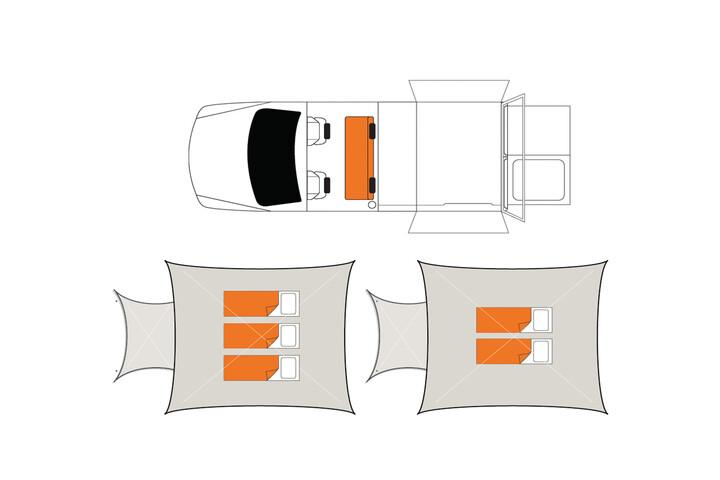 Floorplan bei Nacht des Britz Outback 4WD