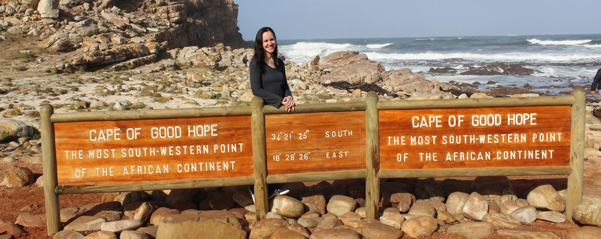 Reisebericht Südafrika - Reiseexpertin Waltraud am Kap der Guten Hoffnung