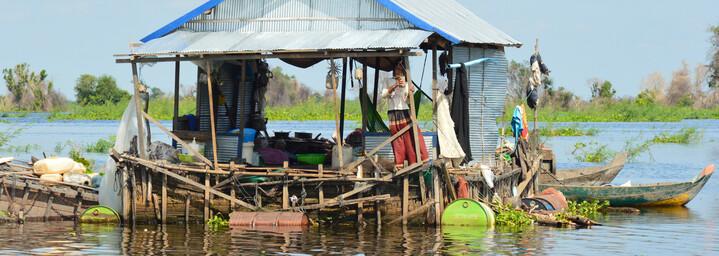 Schwimmendes Haus auf dem Tonle Sap See