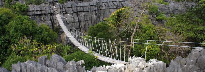Hängebrücke im Ankarana Reserve im Norden