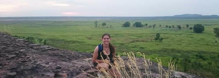Reiseexpertin Sybille am Aussichtspunkt Ubirr