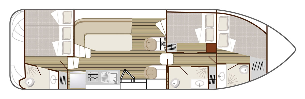 Nicols Hausboote Confort 1100 Plan