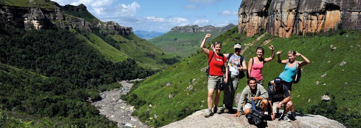 Reisegruppe in Royal Natal Nationalpark Drakensberge