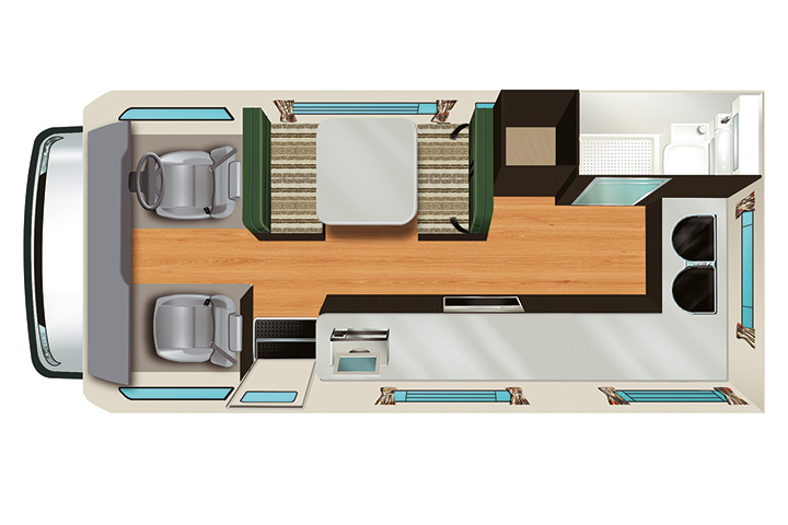 Floorplan bei Tag - Apollo Euro Camper