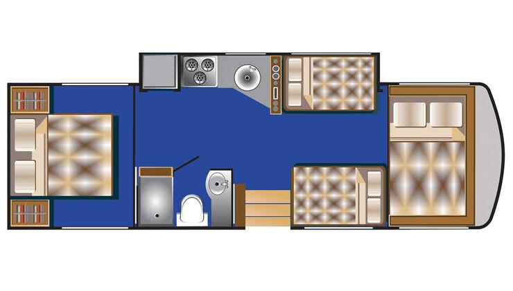 Floorplan bei Nacht des C 30 - 32 ft