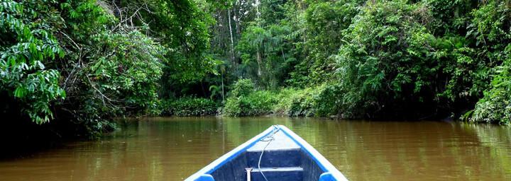 Ecuador und Galápagos Reisebericht - Bootsfahrt zur Tapir Lodge im Cuyabeno Naturreservat