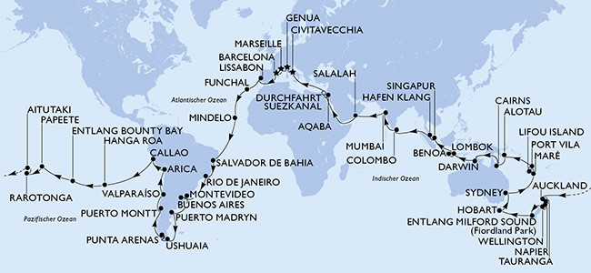 MSC World Cruise Route