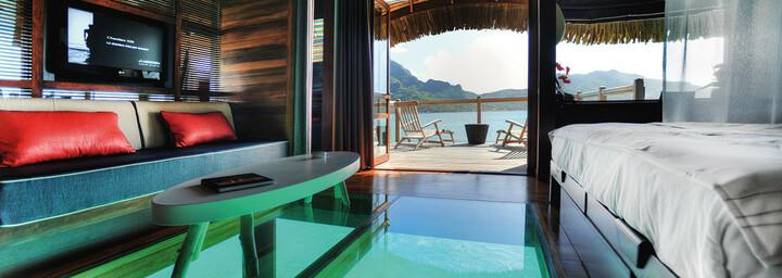 Premium Overwater Bungalow des Le Méridien Bora Bora