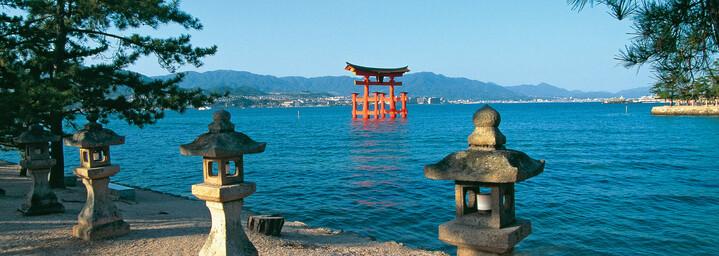 Insel Miyajima Tor des Itsukushima-Schreins Japan