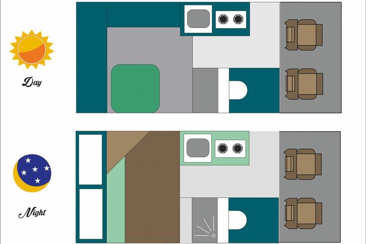 Floorplan des Maui M2B (2 Berth)