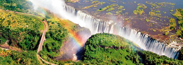 Luftaufnahme Viktoriafälle in Sambia/Simbabwe