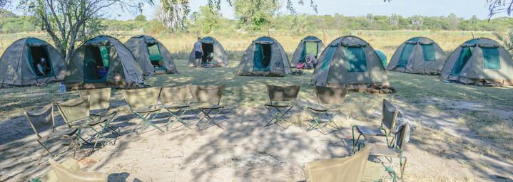 Übernachten im Camp im Okavango Delta