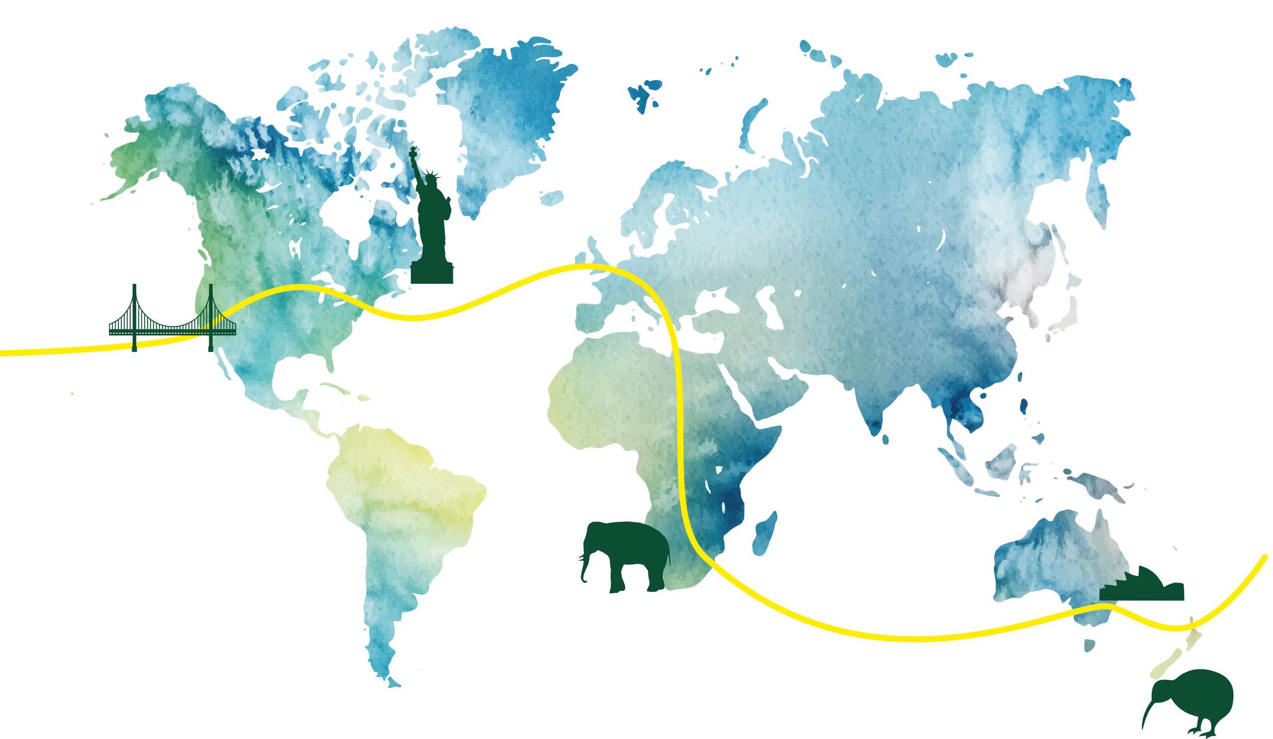Weltreisen Karte Big 5 vs. Koalas & Hobbits