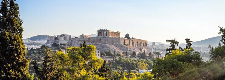 Blick auf archäologische Stätte in Athen
