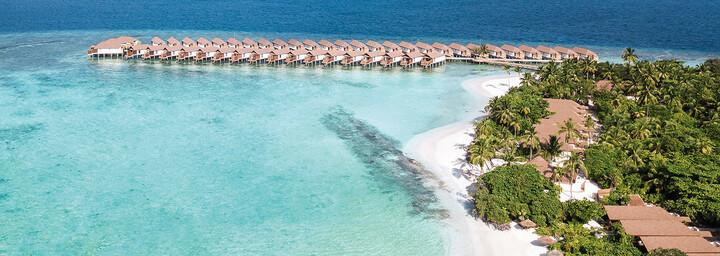 Reethi Faru Resort aus der Luft