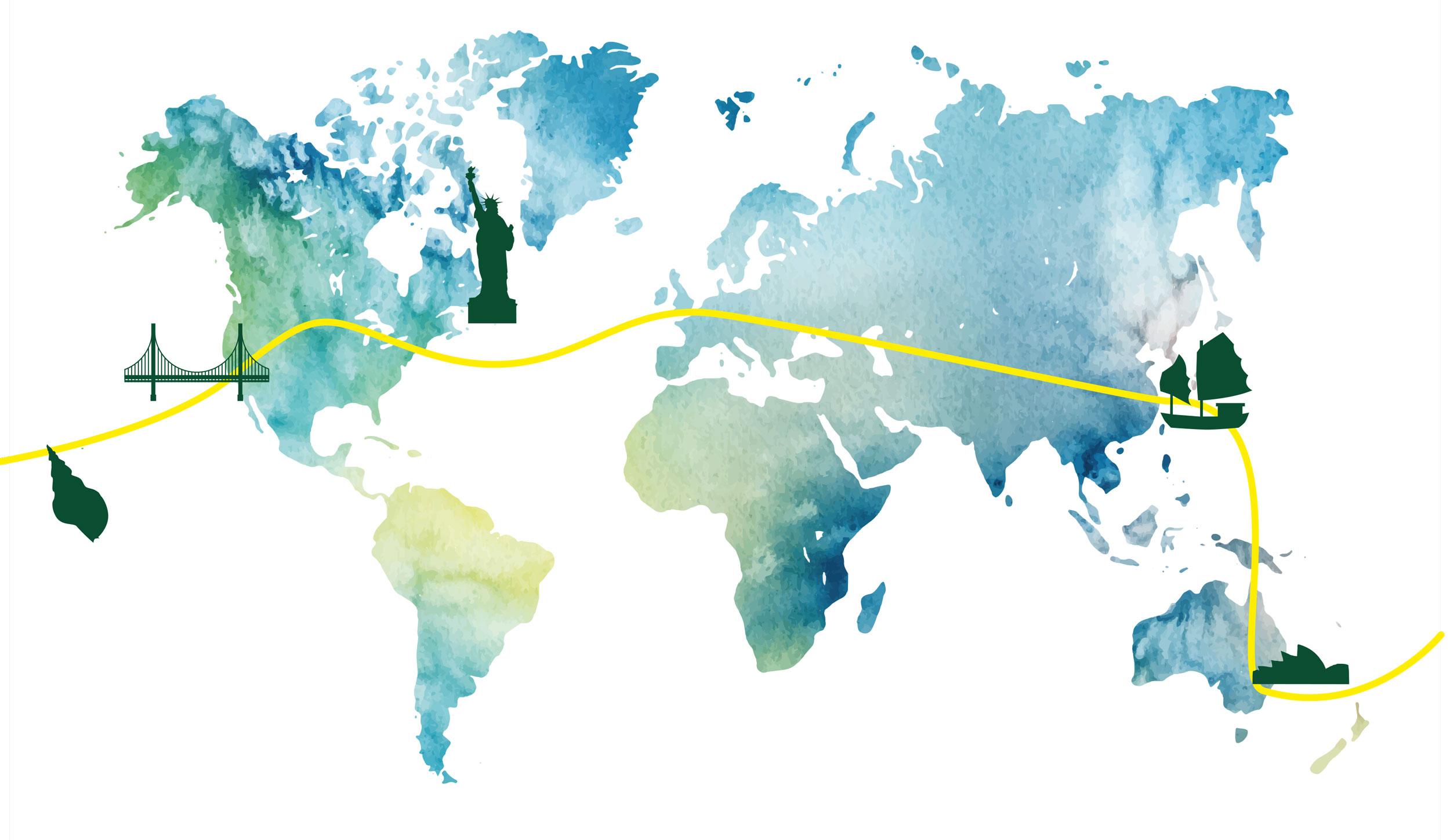 Weltreisen Karte Big Apple bis Südsee
