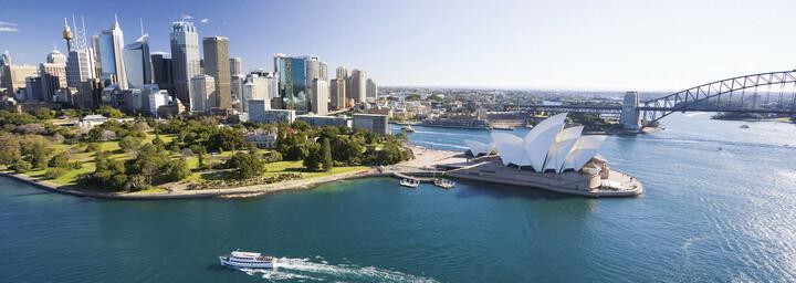 Panorama Sydney Opernhaus und Harbour Bridge