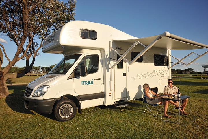 Außenansicht des Maui Beach Camper