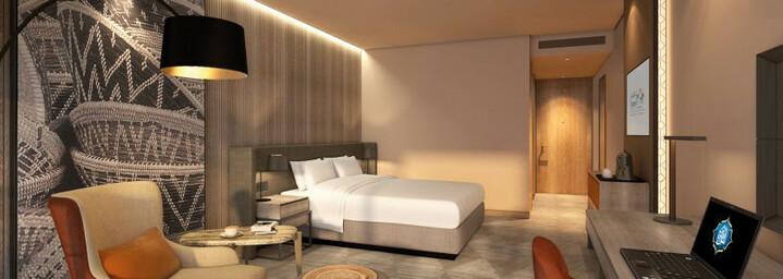 Deluxe-Zimmerbeispiel des Mysk Al Mouj by Shaza Hotel in Muscat