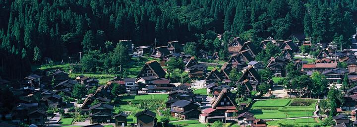 Shirakawago von Oben mit Häusern und Landschaft