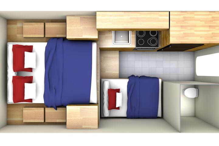 Floorplan bei Nacht des Maxi Travel Camper TCA