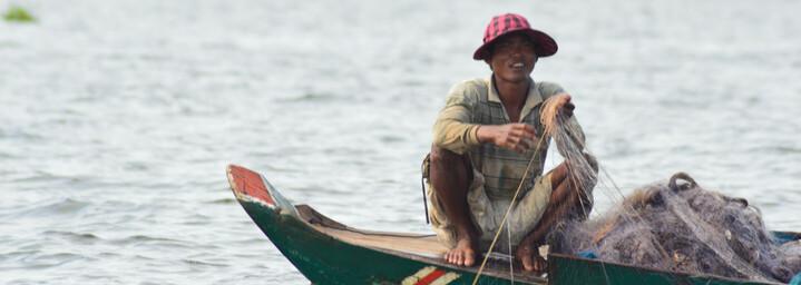 Fischer auf dem Tonle Sap See