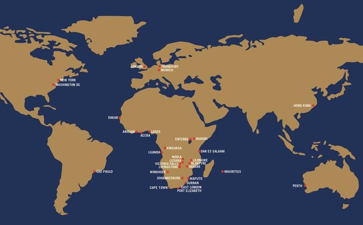 South African Airways Streckennetz