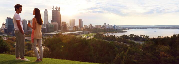 Perth im Kings Park bei Sonnenuntergang